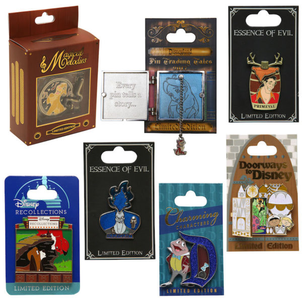 Here you can see the Essence of Evil and Doorways to Disney pins, available at Disney World only, plus some others that will only be released at Disneyland. Photo credits (C) Disney Enterprises, Inc. All Rights Reserved