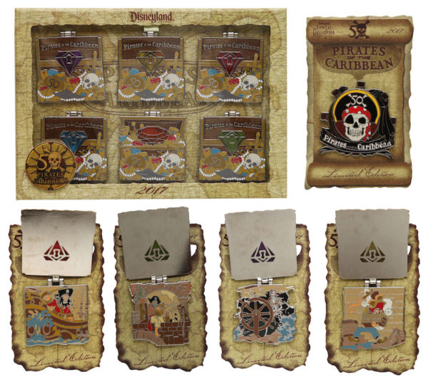 Here are the Pirates of the Caribbean commemorative pins. Even though it's also the 50th anniversary in Disney World. You can only find these in Disneyland. Photo credits (C) Disney Enterprises, Inc. All Rights Reserved