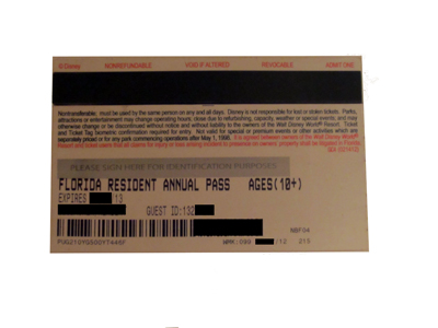 The back of the old paper (non-RFID) annual pass featured a bar code and a magnetic strip.