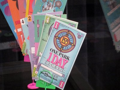 Disney did a great job of installing interesting displays, like this one of old-styled admission tickets.