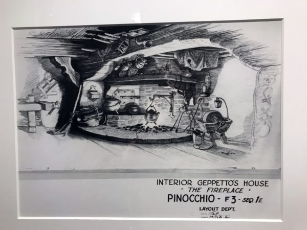 """""""Pinocchio"""" (1939). Concept sketches created for the film. Before final artwork is created for an animated film, concept sketches, like these for Pinocchio, are drawn to convey the basic design and mood of a scene."""