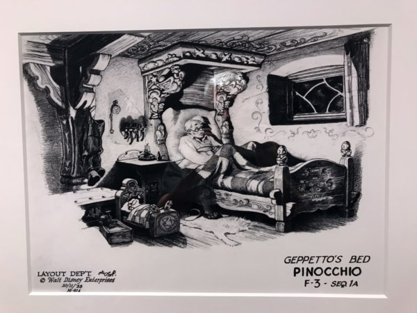 """Pinocchio"" (1939). Concept sketches created for the film. Before final artwork is created for an animated film, concept sketches, like these for Pinocchio, are drawn to convey the basic design and mood of a scene."