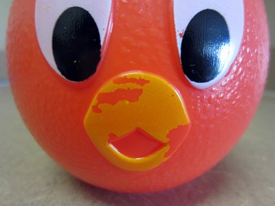 Unfortunately the paint on the Orange Bird didn't hold up well to condensation.