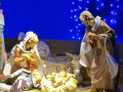 The beautiful nativity scene in in a different location than in the past - now it's near where most people enter the street.