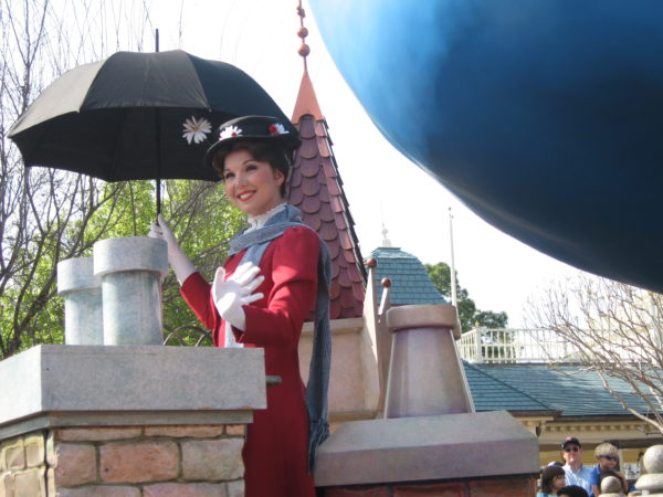 May Poppins and her umbrella first appeared in the Disney Character Hit Parade, but this picture was taken years later in the Disney Dreams Come True parade.