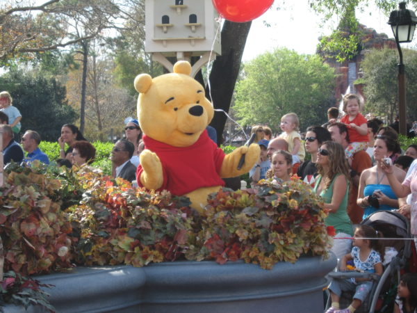 Winnie the Pooh celebrated flight in the Disney Dreams Come True parade.