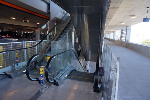 There were plenty of escalators to move between the levels of the parking garage.