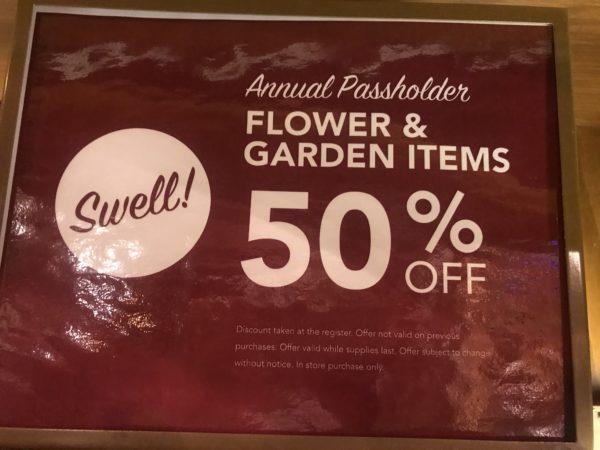 Passholders get 50% off select Flower & Garden merchandise.