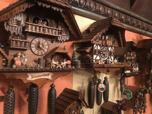 The shop still sports this display of German cuckoo clocks. They are fun to see, and amazing works of art and engineering.