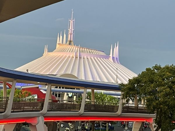 Looking back at iconic Space Mountain.