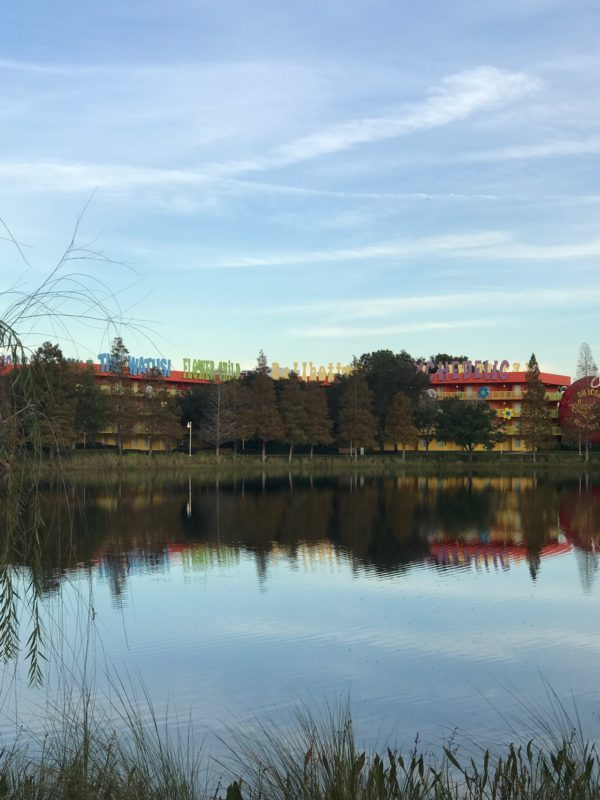 Art of Animation is separated from Pop Century by Hourglass Lake.