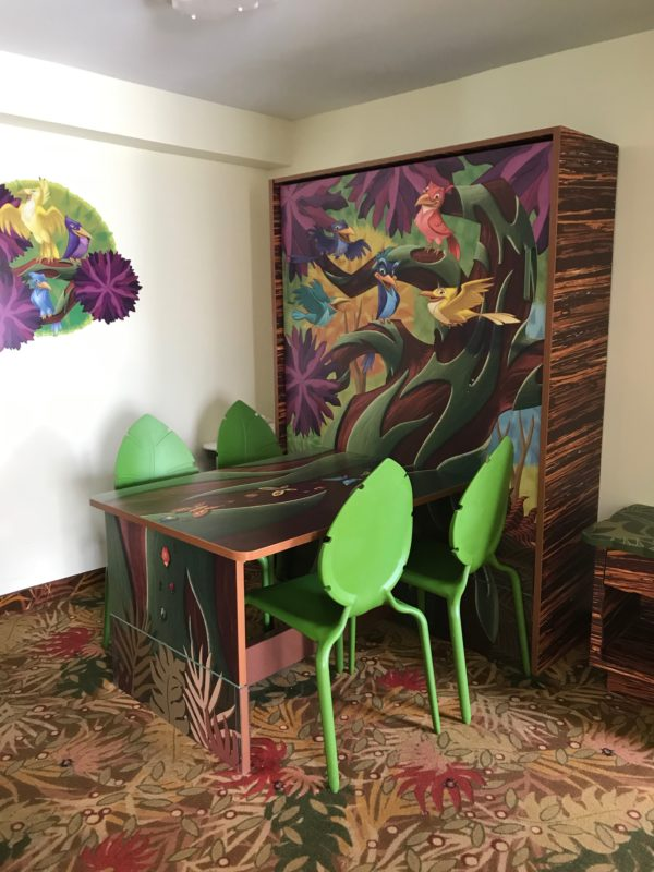 The Lion King Family Suites have a nice eating area. We ate breakfast, lunch, and dinner here almost every night! It was much easier than trying to eat in the foodcourt with a toddler! This also serves as a Murphy bed!