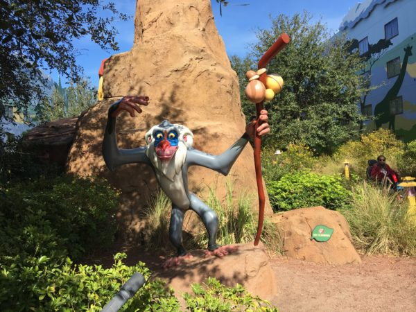 Rafiki welcomes you to the Lion King area!
