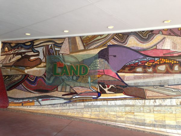 The mosaic outside of The Land is quite impressive!