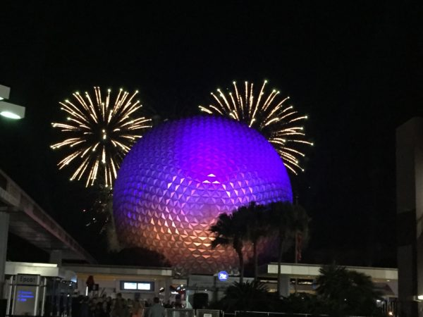 The fireworks are perfectly positioned. Do you see the hidden Mickey?