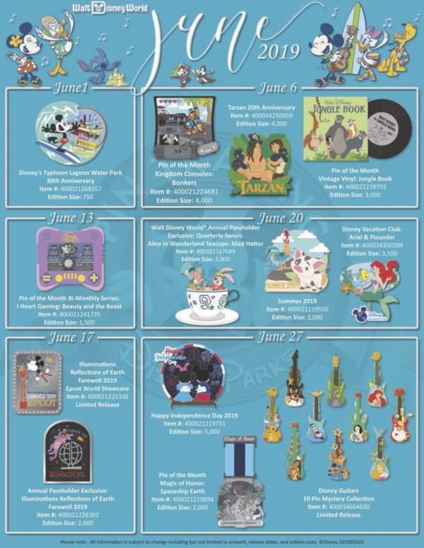 Here's the schedule of pins being released in June 2019!