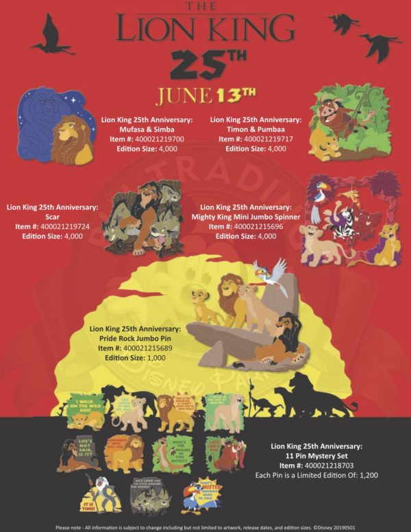 There will also be a special pin collection released on June 13th for the 25th anniversary of The Lion King!