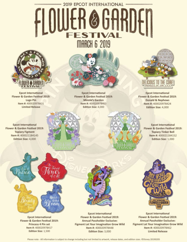 Disney also releases the 2019 Epcot International Flower and Garden Festival Pins on March 6th!