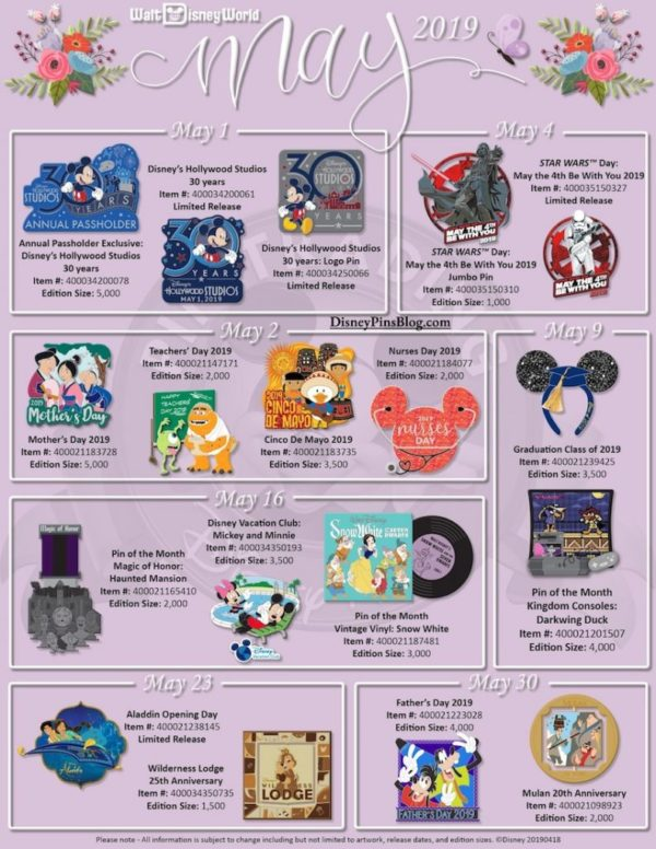 5d4fc96c895 May 2019 Pin Releases – World Of Walt