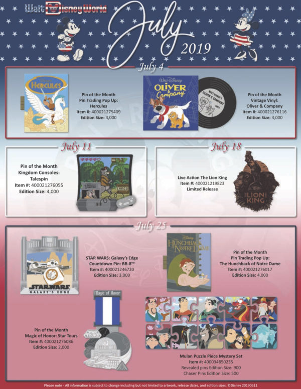 Here are the July 2019 Pin Releases!