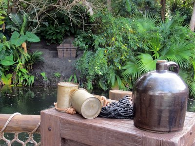 This jug and treasure chest across the river is near the Jungle Cruise.
