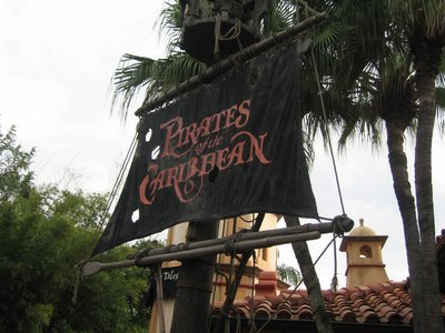 The entrance to the Pirates attraction sets the mood.