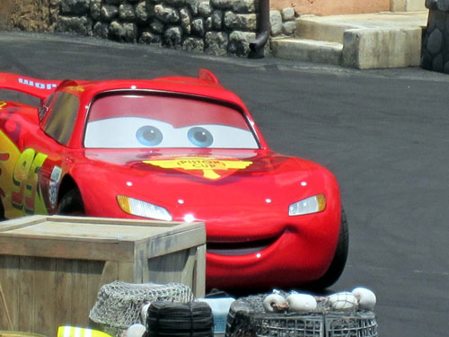 Lightning McQueen in the Lights Motors Action stunt show.