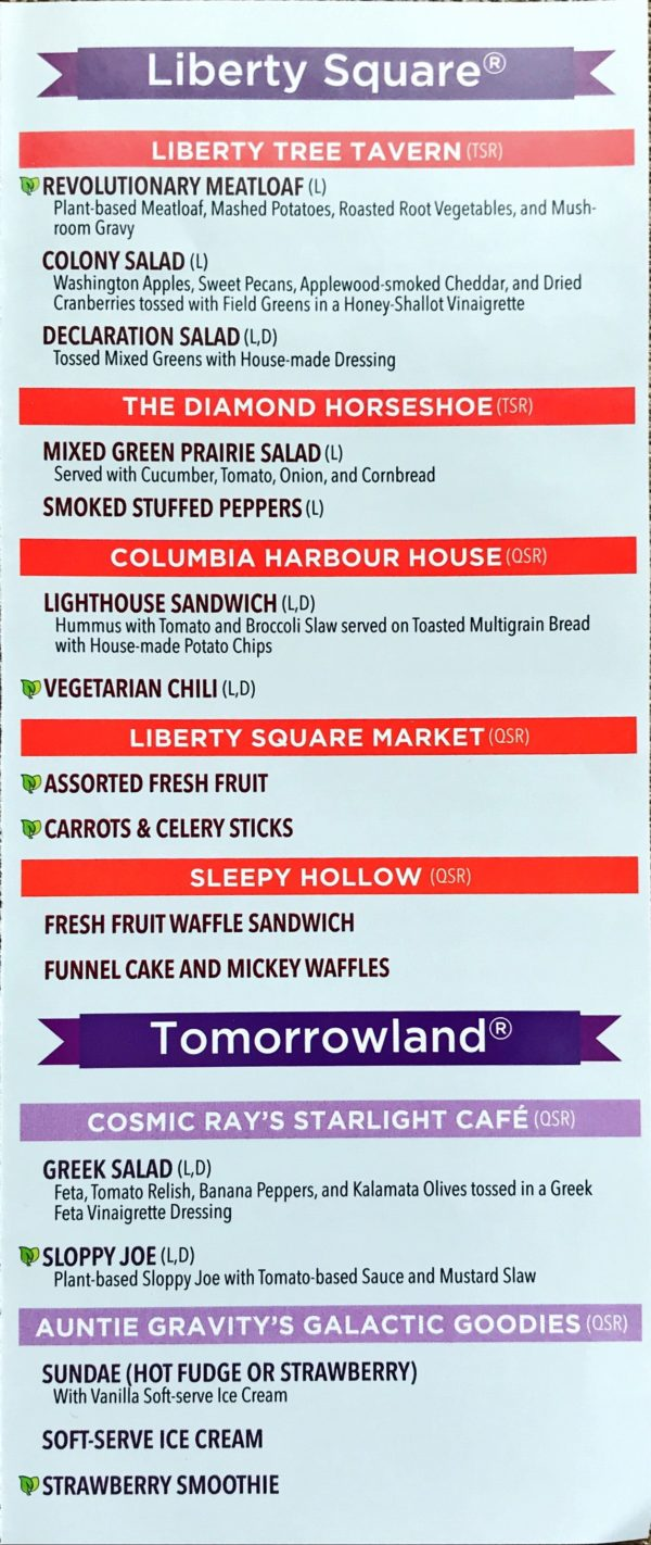 Liberty Square and Tomorrowland plant-based foods.