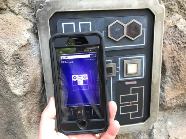 Solve a simple puzzle to hack the door.