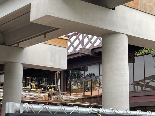 You can see the sliding doors that lead into the second floor of the Poly's lobby in the background.