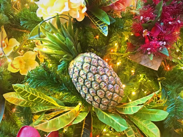 You can't have a Polynesian inspired tree without a pretty pineapple ornament.