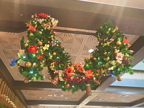 Perfectly detailed garland hanging in the lobby at Disney's Polynesian Resort.