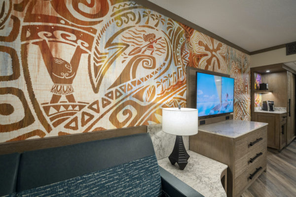 Maui takes center stage in the room's new wall designs. Photo credits (C) Disney Enterprises, Inc. All Rights Reserved