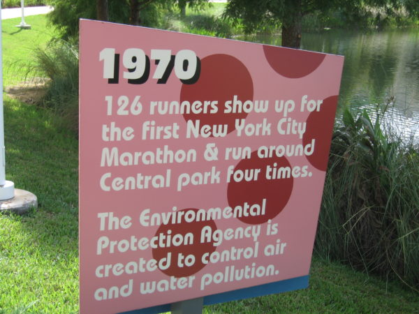 1970: 126 runners show up for the first New York City Marathon & run around Central park four times. The Environmental Protection Agency is created to control air and water pollution.