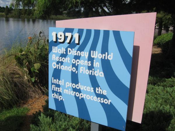 1971: Walt Disney World Resort opens in Orlando, Florida. Intel produces the first microprocessor chip.