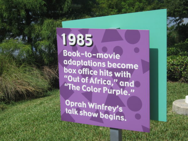"""1985: Book-to-movie adaptations become box office hits with """"Out of Africa"""" and """"The Color Purple."""" Oprah Winfrey's talk show begins."""