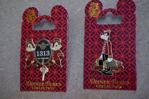 Disney celebrates one of the most beloved attractions, the Twilight Zone Tower of Terror, with several pins featuring Disney characters.