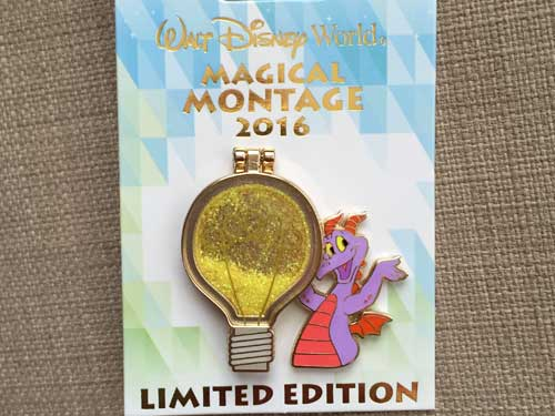 Limited edition Figment pin with flip-up light bulb. Very cool!