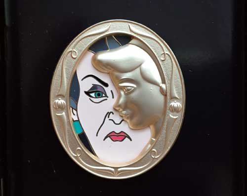"This beautiful Limited Edition ""Duets"" pin features Cinderella and her wicked stepmother."
