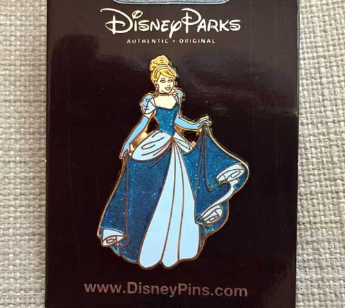 This pin features Cinderella in her blue gown.