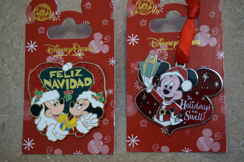 Mickey Mouse Christmas pins.