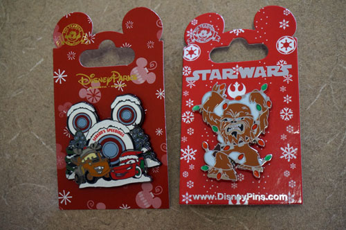 Cars and Chewbacca Christmas pins.