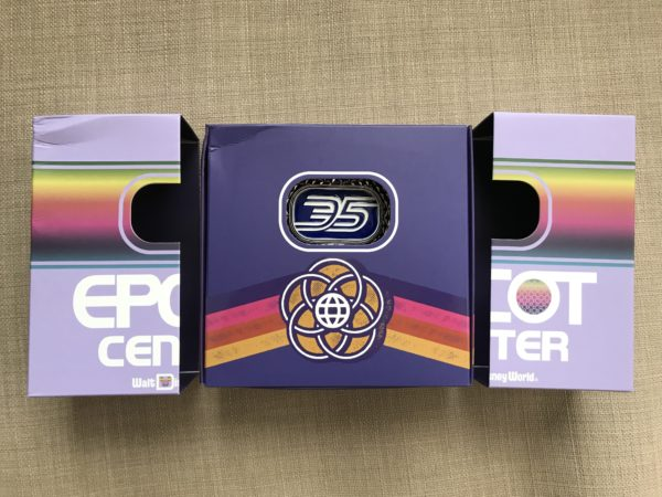 This month's pin celebrates Epcot's 35th Anniversary.