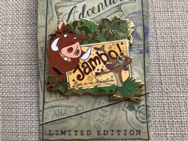 Limited Edition Love is an Adventure Timon and Pumbaa pin.