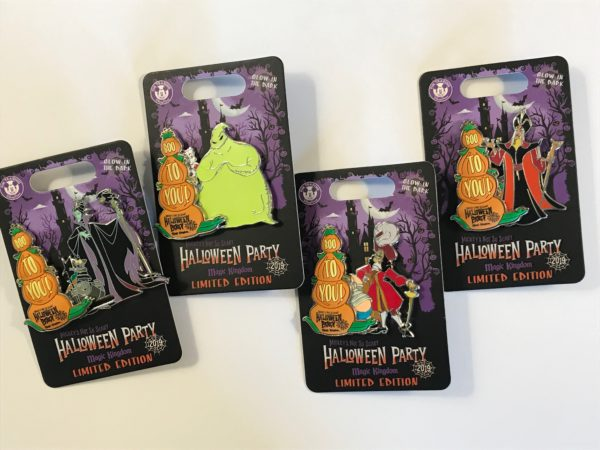Four limited edition Halloween party pins.