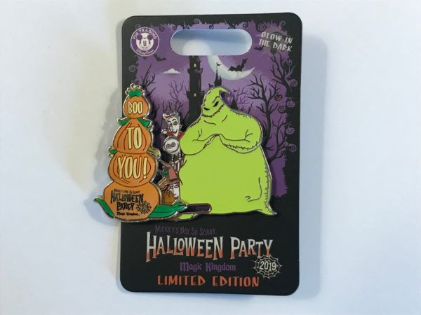 "Limited edition 2019 ""Boo to You"" Oogie Boogie, Lock, Shock, and Barrel pin."