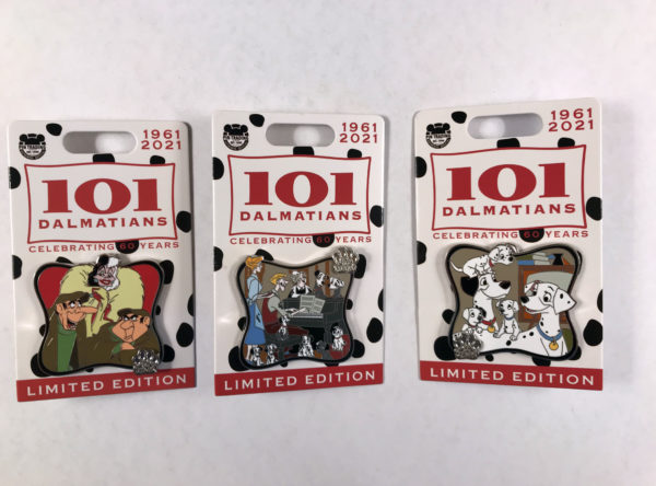 This month's pins honor Disney's 17th animated feature, 101 Dalmatians.