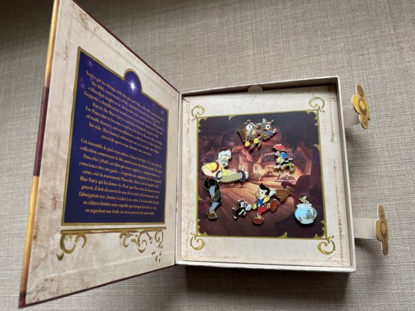 This pin set comes in a beautiful box set that looks like a storybook.