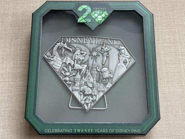 A jumbo limited edition pin of Disneyland.