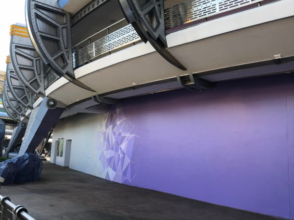 The famous Tomorrowland purple wall now has a transition to a white section.